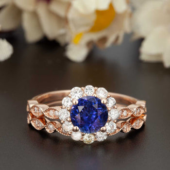1.50 Carat Round Cut Halo Sapphire and Diamond Wedding Ring Set in Rose Gold Art Deco Ring