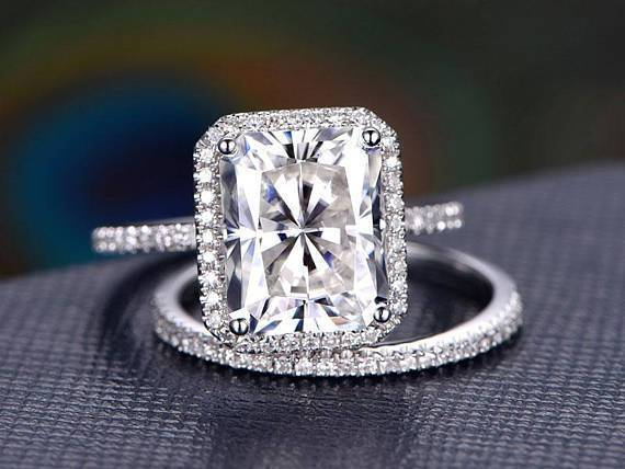 2 Carat Emerald Cut Moissanite and Diamond Halo Bridal Set in White Gold