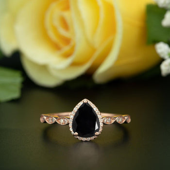 1.25 Carat Pear Cut Halo Black Diamond and Diamond Engagement Ring in Rose Gold Vintage Ring
