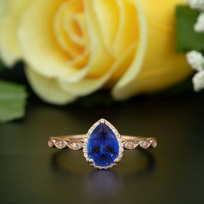1.25 Carat Pear Cut Halo Sapphire and Diamond Engagement Ring in Rose Gold Vintage Ring