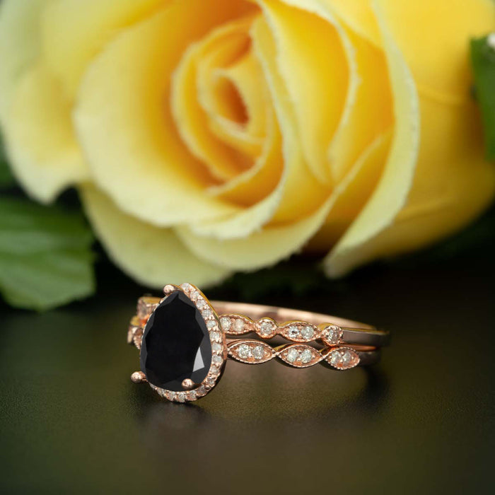 1.5 Carat Pear Cut Halo Black Diamond and Diamond Wedding Ring Set in 9k Rose Gold Vintage Ring