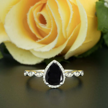 1.25 Carat Pear Cut Halo Black Diamond and Diamond Engagement Ring in White Gold Vintage Ring