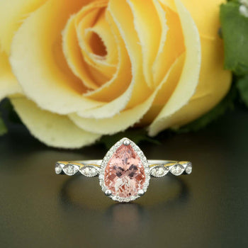 1.25 Carat Pear Cut Peach Morganite and Diamond Engagement Ring in White Gold Classic Ring