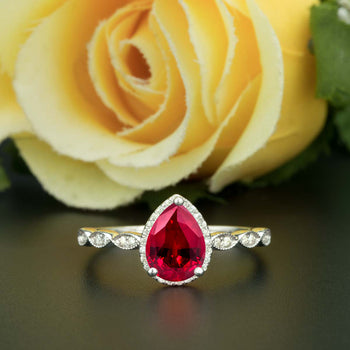 1.25 Carat Pear Cut Halo Ruby and Diamond Engagement Ring in 9k White Gold Vintage Ring