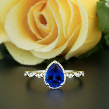 1.25 Carat Pear Cut Halo Sapphire and Diamond Engagement Ring in White Gold Vintage Ring