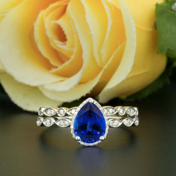 1.50 Carat Pear Cut Halo Sapphire and Diamond Wedding Ring Set in White Gold Vintage Ring