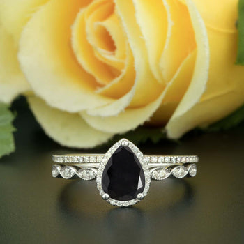 1.5 Carat Pear Cut Halo Black Diamond and Diamond Ring with Classic Wedding Band in 9k White Gold