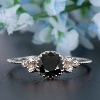 Artdeco 1.25 Carat Round Cut Black Diamond and Diamond Engagement Ring in White Gold