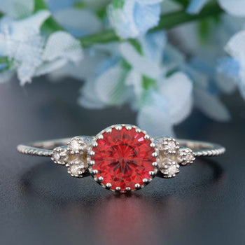 Artdeco 1.25 Carat Round Cut Ruby and Diamond Engagement Ring in 9k White Gold