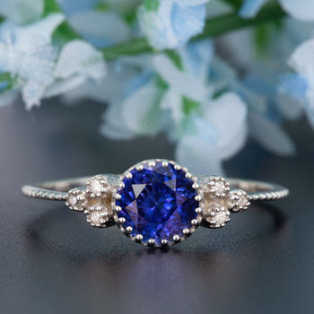 Art Deco 1.25 Carat Round Cut Sapphire and Diamond Engagement Ring in White Gold
