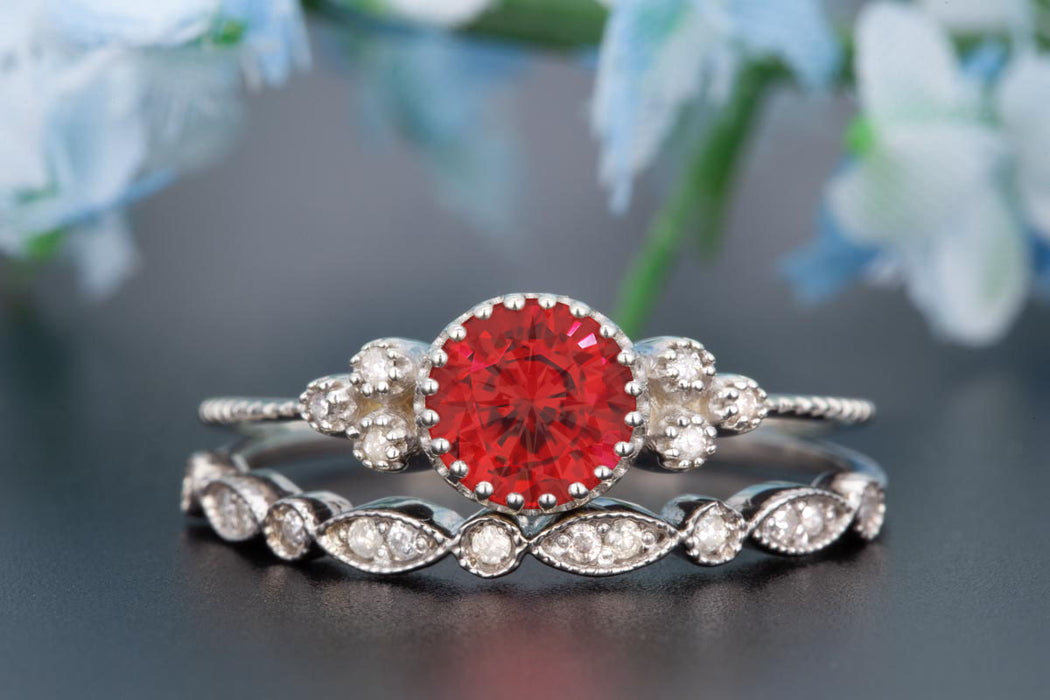 Artdeco 1.5 Carat Round Cut Ruby and Diamond Wedding Ring Set in 9k White Gold