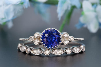 Art Deco 1.50 Carat Round Cut Sapphire and Diamond Wedding Ring Set in White Gold