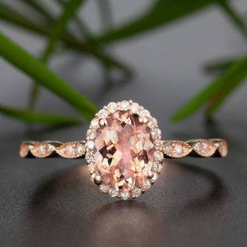 Classic 1.25 Carat Oval Cut Peach Morganite and Diamond Engagement Ring in Rose Gold Beautiful Ring