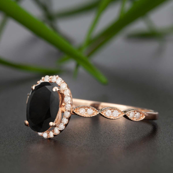 Timeless 1.25 Carat Oval Cut Black Diamond and Diamond Engagement Ring in Rose Gold