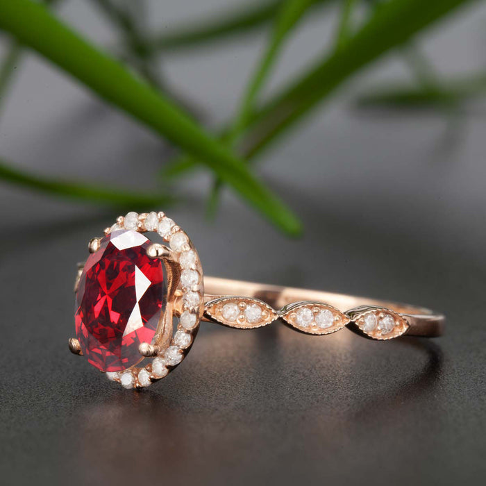 Timeless 1.25 Carat Oval Cut Ruby and Diamond Engagement Ring in 9k Rose Gold
