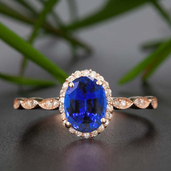Timeless 1.25 Carat Oval Cut Sapphire and Diamond Engagement Ring in Rose Gold