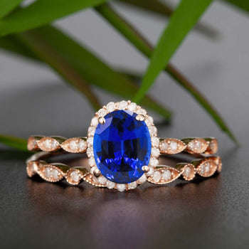 Timeless 1.50 Carat Oval Cut Sapphire and Diamond Bridal Ring Set in Rose Gold