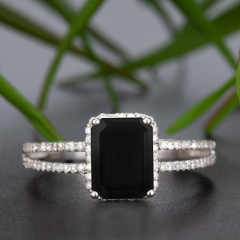 1.25 Carat Emerald Cut Black Diamond and Diamond Engagement Ring in White Gold