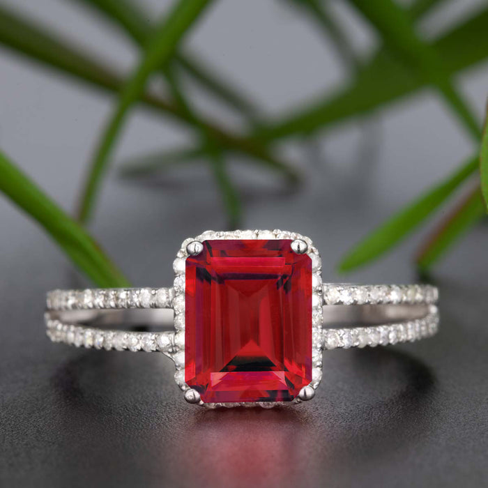 1.25 Carat Emerald Cut Ruby and Diamond Engagement Ring in 9k White Gold