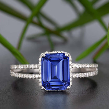1.25 Carat Emerald Cut Sapphire and Diamond Engagement Ring in White Gold