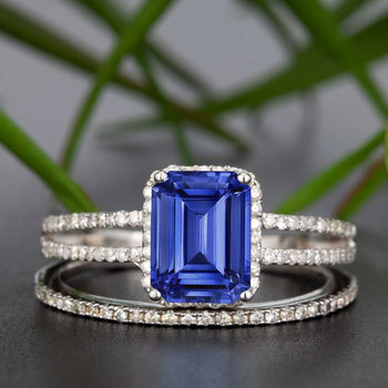 1.50 Carat Emerald Cut Sapphire and Diamond Wedding Ring Set in White Gold
