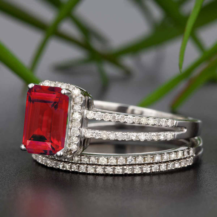 23daa3a7e5510 2 Carat Emerald Cut Ruby and Diamond Trio Wedding Ring Set in 9k White Gold