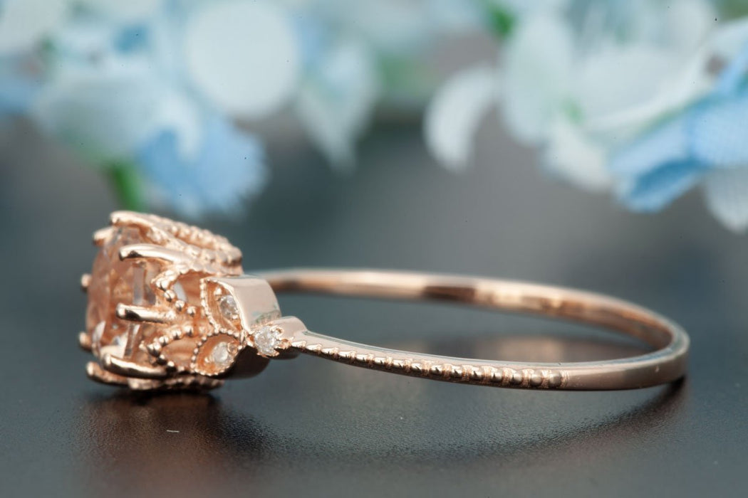 1.25 Carat Round Cut Sapphire and Diamond Engagement Ring in Rose Gold Timeless Ring