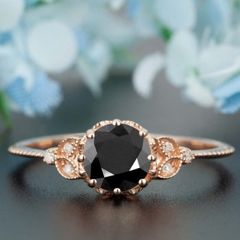 1.25 Carat Round Cut Black Diamond and Diamond Engagement Ring in 9k Rose Gold Timeless Ring