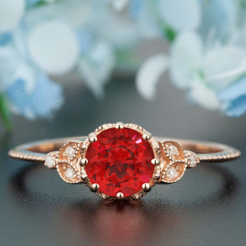 1.25 Carat Round Cut Ruby and Diamond Engagement Ring in 9k Rose Gold Timeless Ring