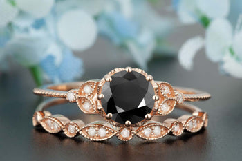 1.5 Carat Round Cut Black Diamond and Diamond  Bridal Ring Set in 9k Rose Gold Timeless Ring