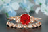 1.5 Carat Round Cut Ruby and Diamond  Bridal Ring Set in 9k Rose Gold Timeless Ring