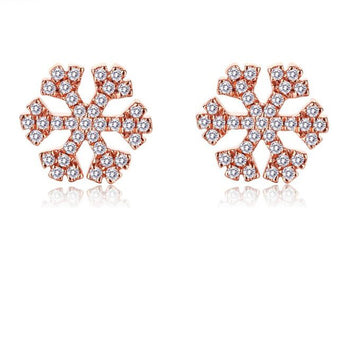 .20 Carat Round Cut Diamond Snowflake Stud Earrings in Rose Gold