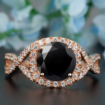 Big 1.25 Carat Round Cut Black Diamond and Diamond Engagement Ring in Rose Gold