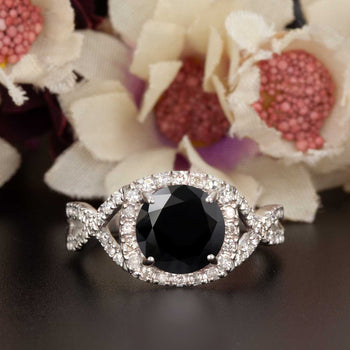 Big 1.25 Carat Round Cut Black Diamond and Diamond Engagement Ring in White Gold