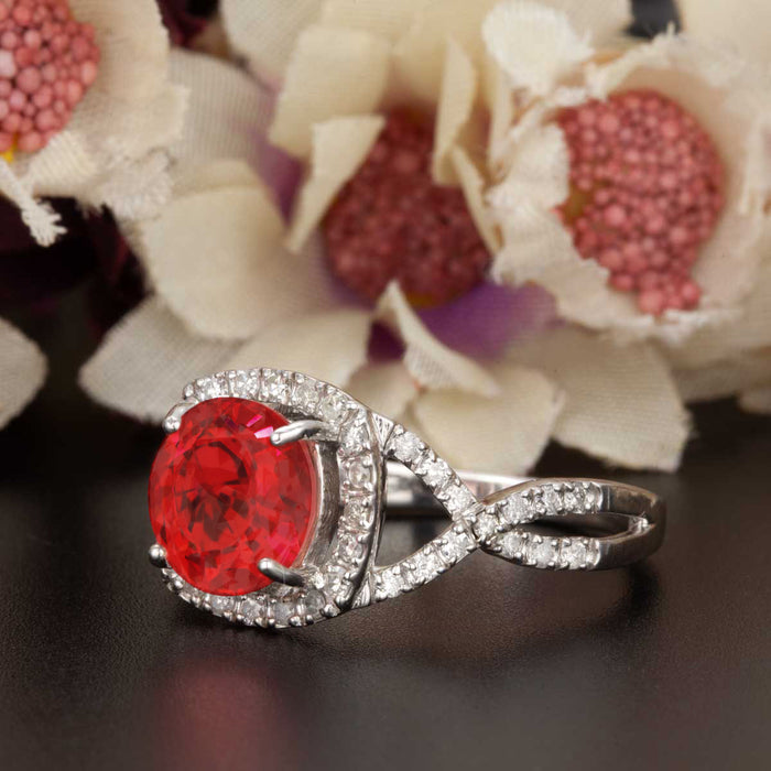 Big 1.25 Carat Round Cut Ruby and Diamond Engagement Ring in 9k White Gold
