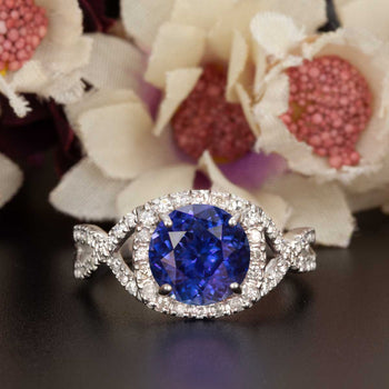 Big 1.25 Carat Round Cut Sapphire and Diamond Engagement Ring in White Gold