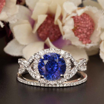 Big 1.50 Carat Round Cut Sapphire and Diamond Wedding Ring Set in White Gold