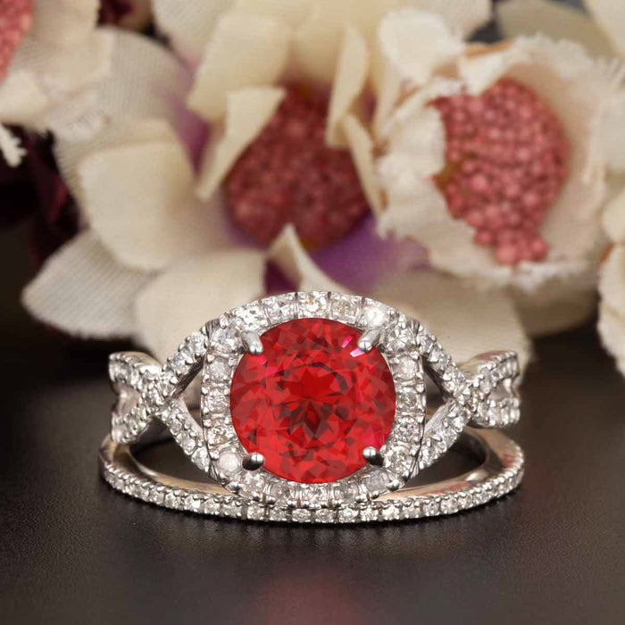 Big 1.5 Carat Round Cut Ruby and Diamond Wedding Ring Set in 9k White Gold