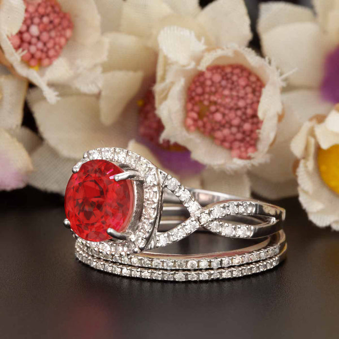Big 2 Carat Round Cut Ruby and Diamond Trio Wedding Ring Set in 9k White Gold