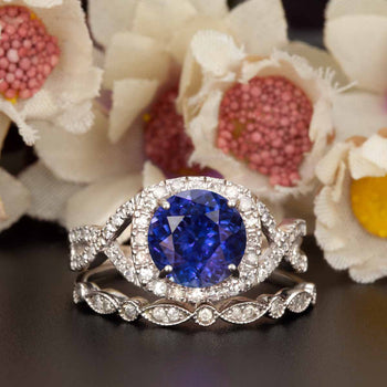 Big 1.50 Carat Round Cut Sapphire and Diamond Bridal Ring Set in White Gold