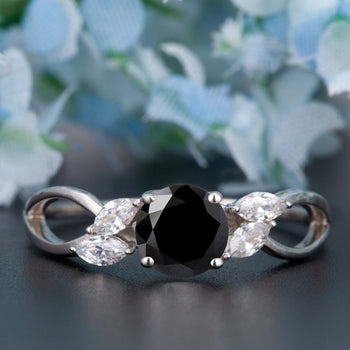 Beautiful 1.25 Carat Round Cut  Black Diamond and Diamond Engagement Ring in White Gold