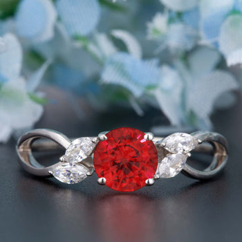 Beautiful 1.25 Carat Round Cut  Ruby and Diamond Engagement Ring in 9k White Gold