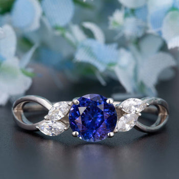 Beautiful 1.25 Carat Round Cut  Sapphire and Diamond Engagement Ring in White Gold