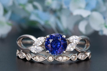 Beautiful 1.50 Carat Round Cut  Sapphire and Diamond Wedding Ring Set in White Gold