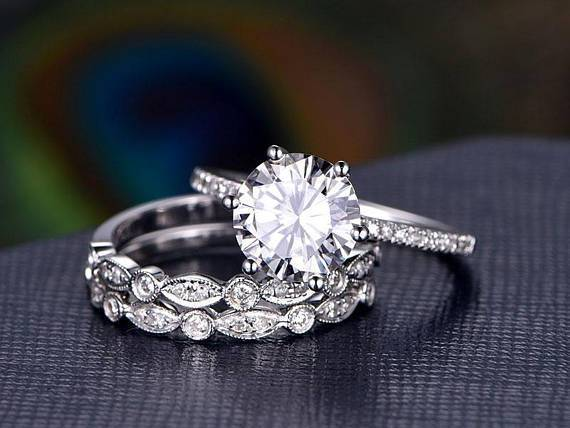 2 Carat Round Cut Moissanite and Diamond Trio Wedding Set in White Gold