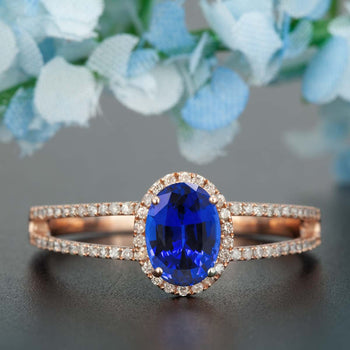 Elegant 1.25 Carat Oval Cut  Sapphire and Diamond Engagement Ring in Rose Gold