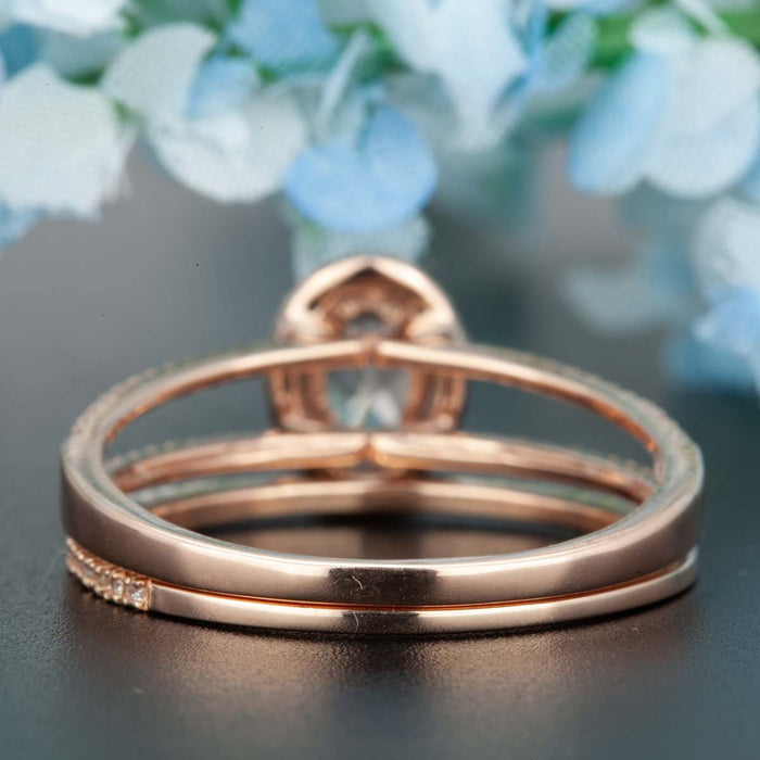 1.5 Carat Oval Cut Peach Morganite and Diamond with Matching Band in 9k Rose Gold Elegant Ring