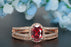 Elegant 1.5 Carat Oval Cut Ruby and Diamond Engagement Ring with Matching Wedding Band in 9k Rose Gold