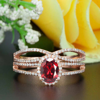 Elegant 2 Carat Oval Cut  Ruby and Diamond Engagement Ring with Matching Wedding Band in 9k Rose Gold