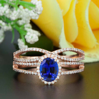 Elegant 2 Carat Oval Cut  Sapphire and Diamond Engagement Ring Bridal Ring Set in Rose Gold